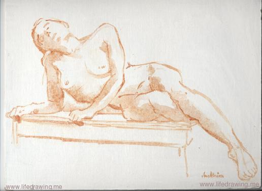 red acrylic wash sketch of a reclining nude woman