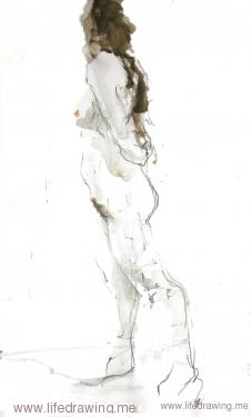 standing woman life drawing in ink