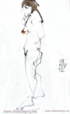 ink sketch of standing female nude