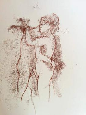 monoprint of couple embracing