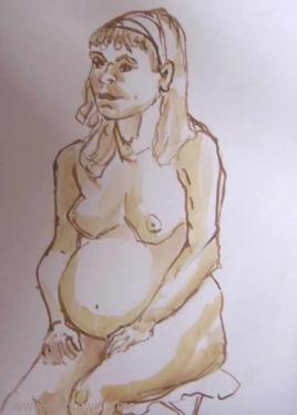 seated pregnant girl