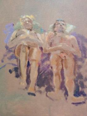 oil sketch of reclining couple