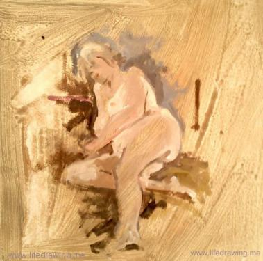 oil sketch of a reclining blonde female nude