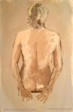 oil sketch of a seated womans back